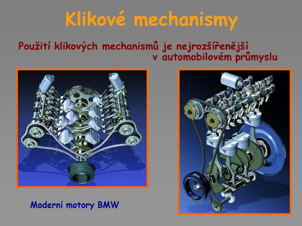 Klikové mechanismy Použití klikových mechanismů je nejrozšířenější v automobilovém průmyslu.