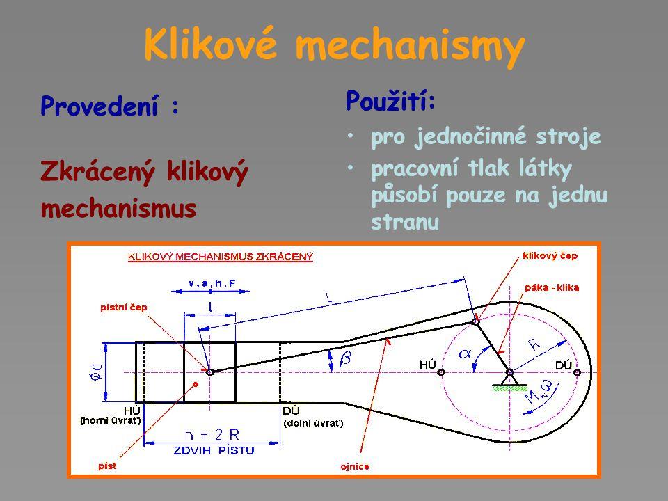 Klikové mechanismy Použití: Použití: Provedení : Zkrácený klikový