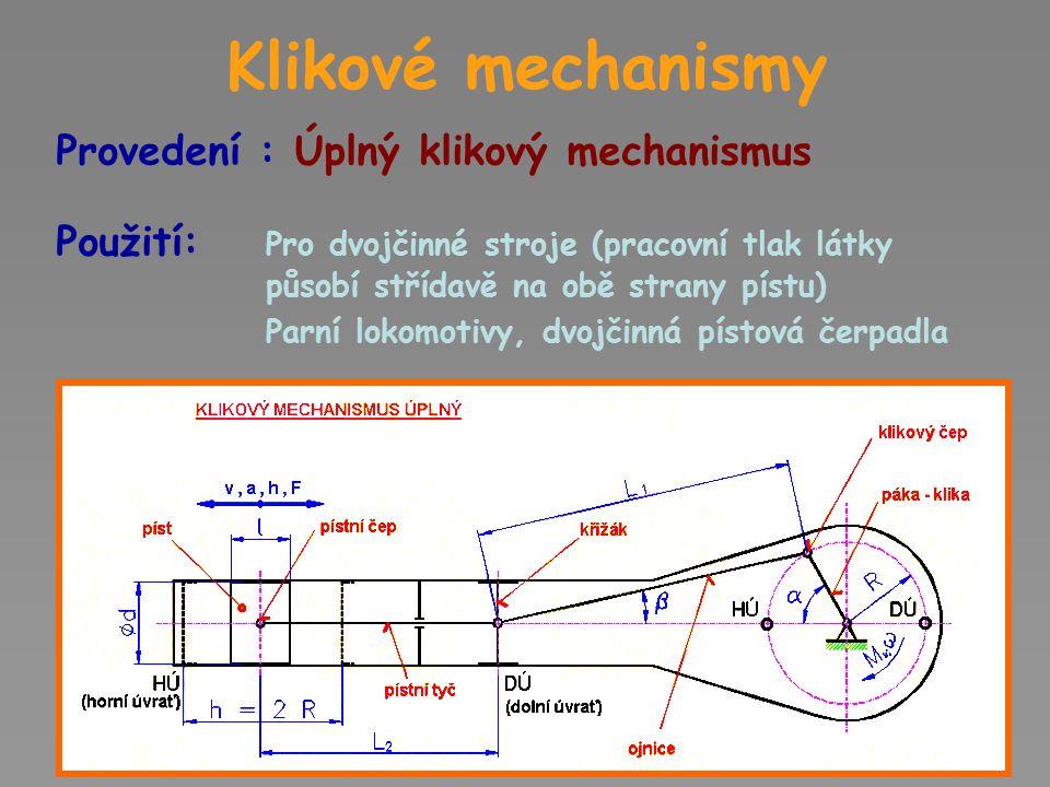 Klikové mechanismy Provedení : Úplný klikový mechanismus