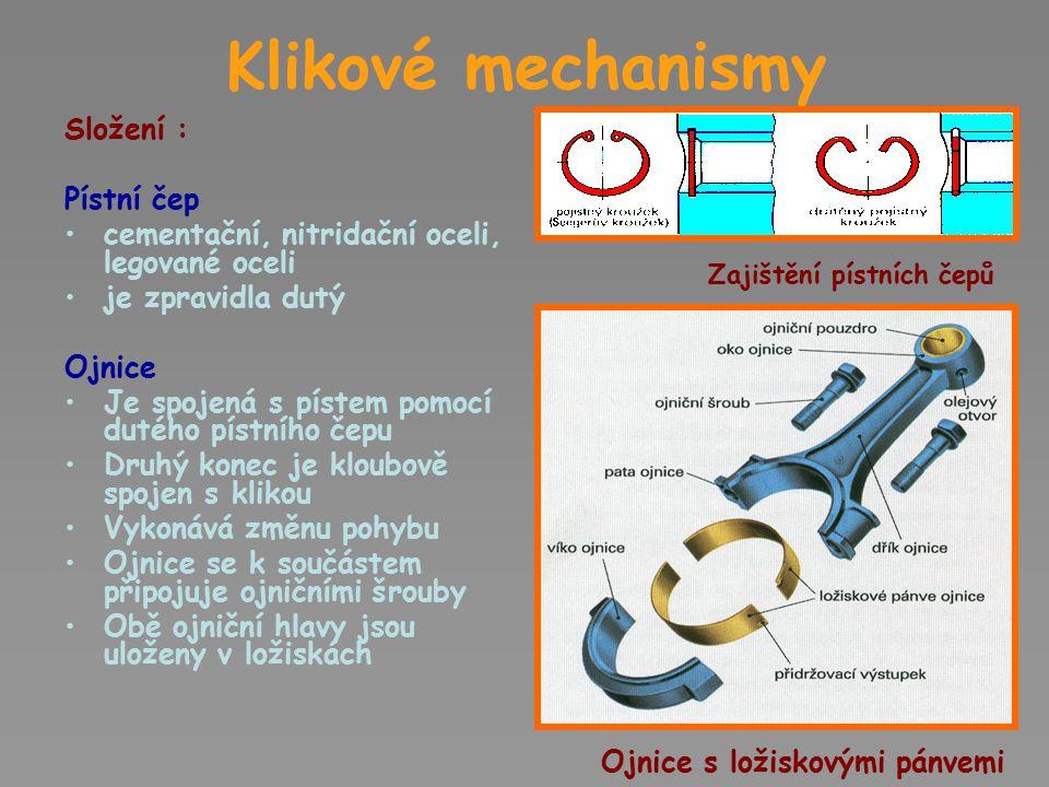 Klikové mechanismy Složení : Pístní čep