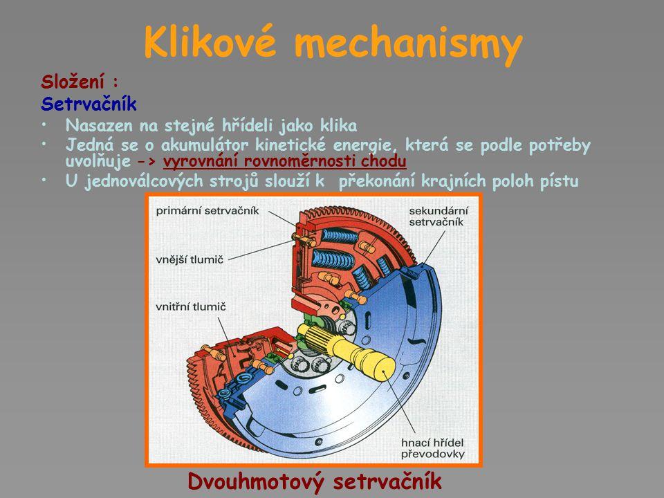 Klikové mechanismy Dvouhmotový setrvačník Složení : Setrvačník