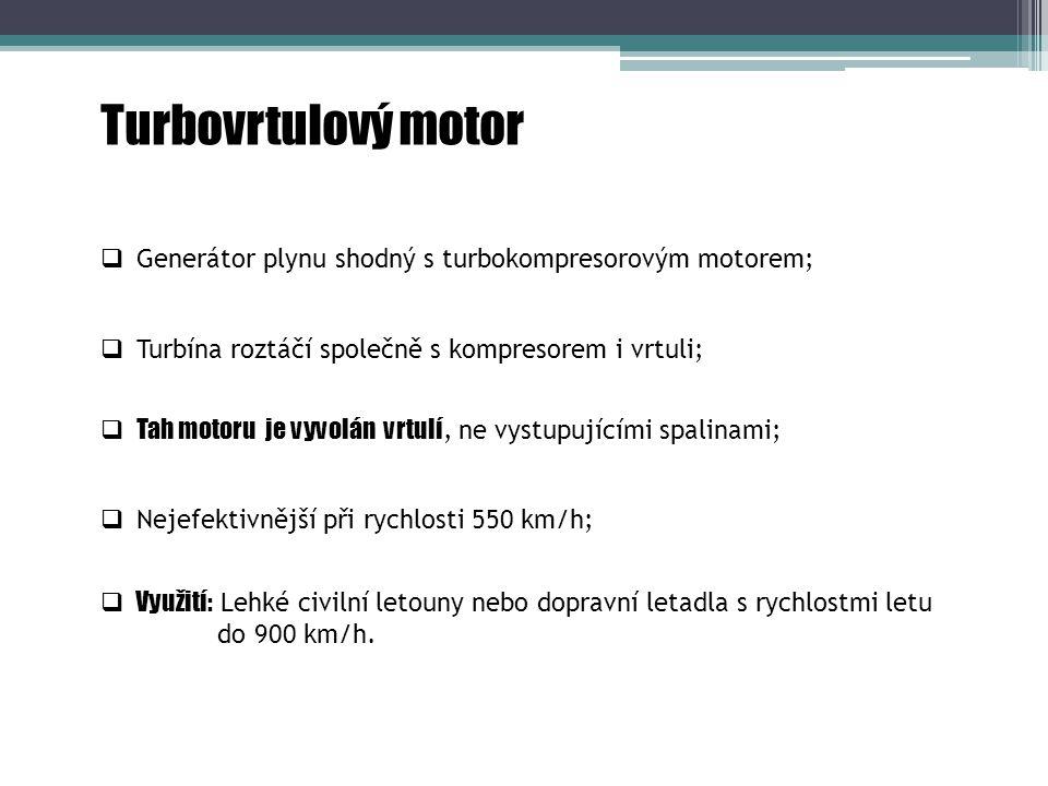 Turbovrtulový motor Generátor plynu shodný s turbokompresorovým motorem; Turbína roztáčí společně s kompresorem i vrtuli;