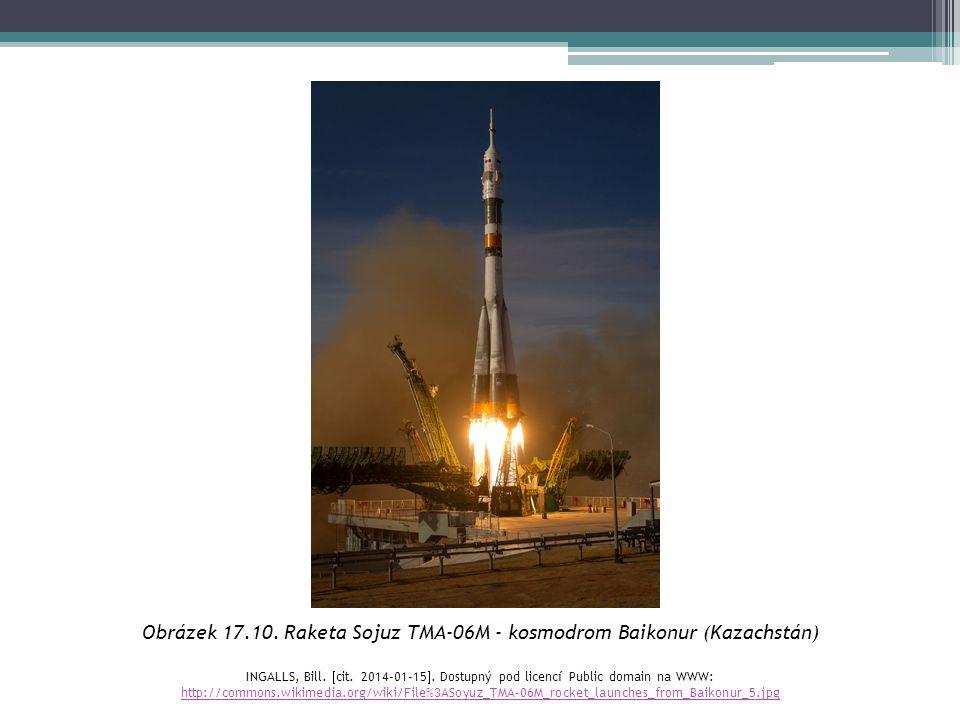 Obrázek 17.10. Raketa Sojuz TMA-06M - kosmodrom Baikonur (Kazachstán)