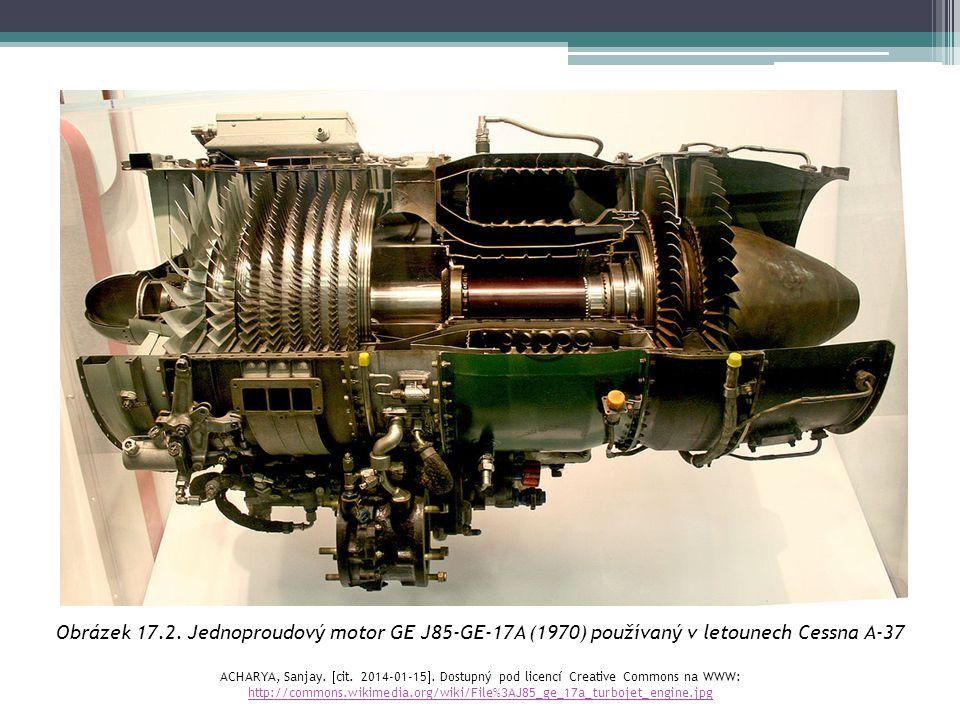 Obrázek 17.2. Jednoproudový motor GE J85-GE-17A (1970) používaný v letounech Cessna A-37