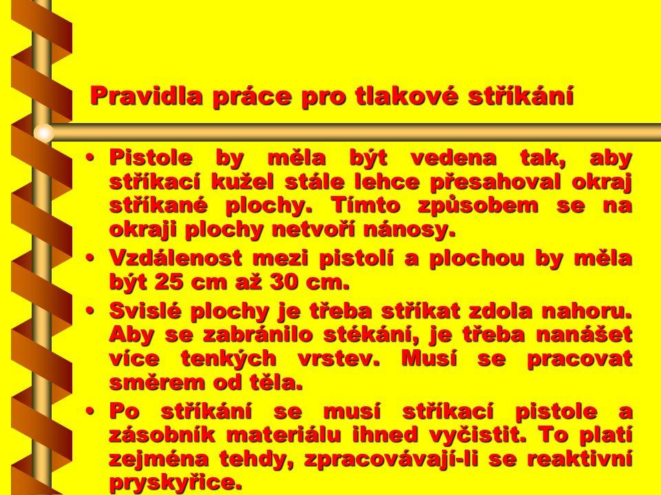 Pravidla práce pro tlakové stříkání