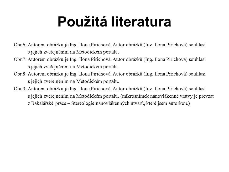 Použitá literatura Obr.6: Autorem obrázku je Ing. Ilona Pirichová. Autor obrázků (Ing. Ilona Pirichová) souhlasí.