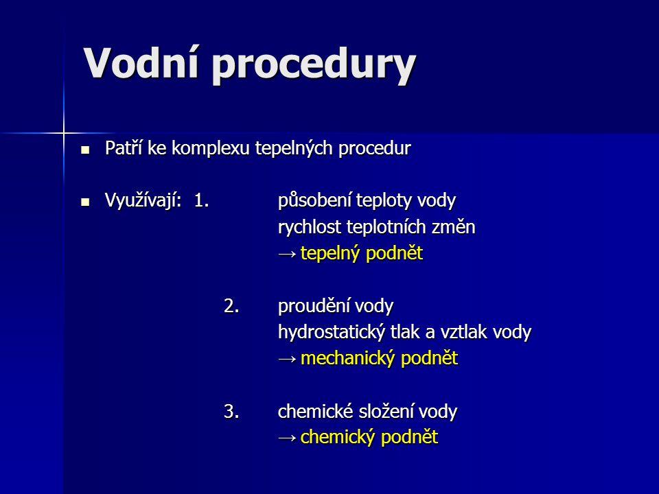 Vodní procedury Patří ke komplexu tepelných procedur