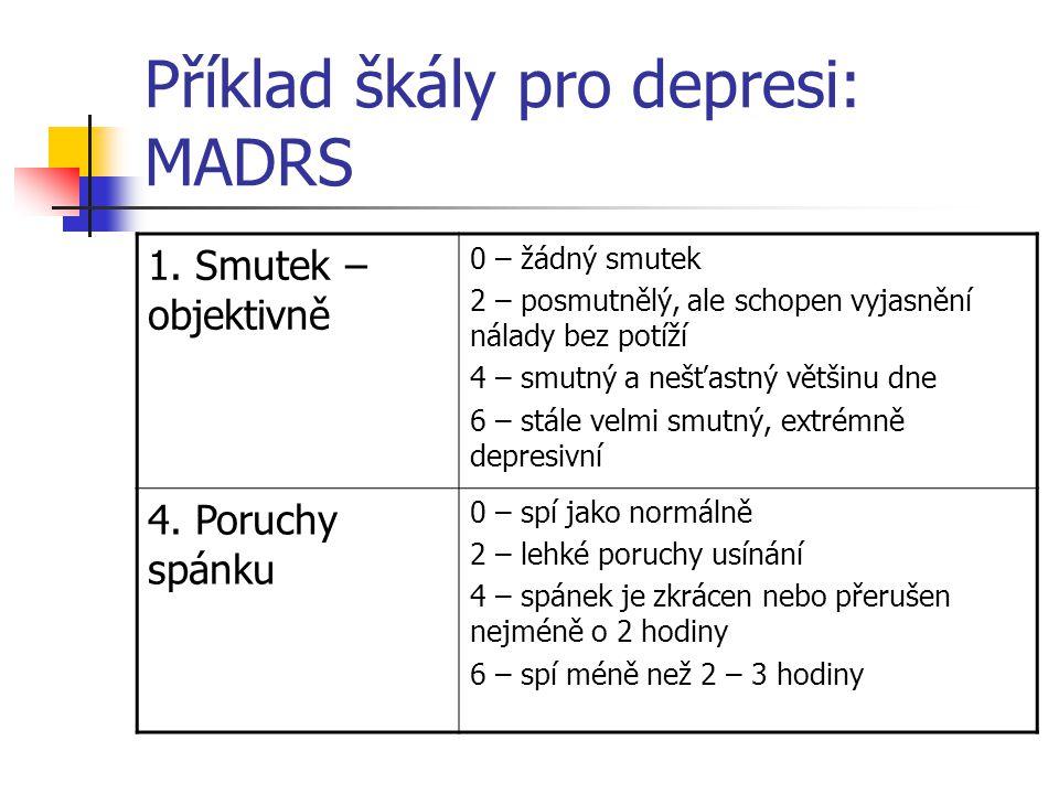 Příklad škály pro depresi: MADRS
