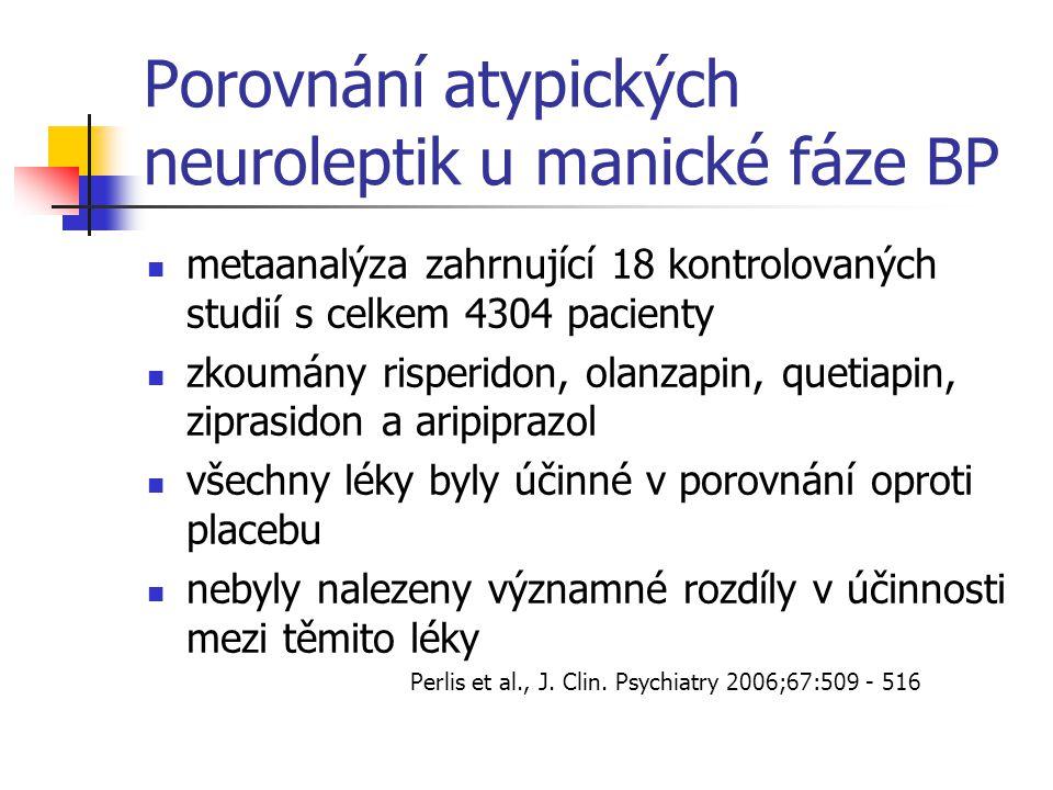 Porovnání atypických neuroleptik u manické fáze BP