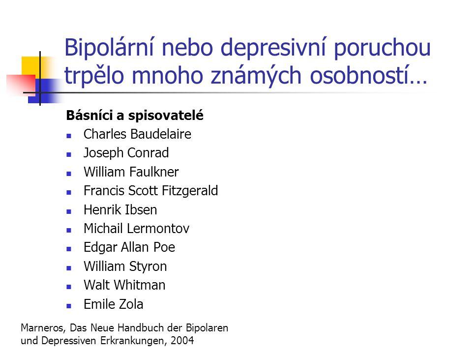 Bipolární nebo depresivní poruchou trpělo mnoho známých osobností…