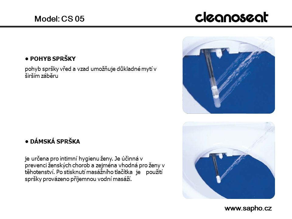 Model: CS 05 www.sapho.cz • POHYB SPRŠKY