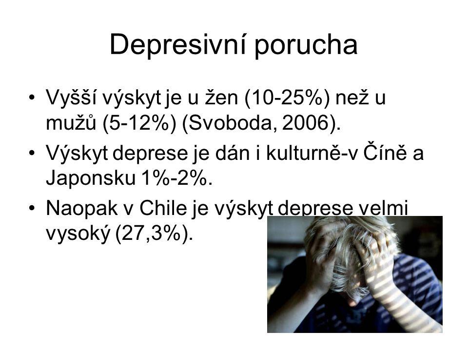 Depresivní porucha Vyšší výskyt je u žen (10-25%) než u mužů (5-12%) (Svoboda, 2006). Výskyt deprese je dán i kulturně-v Číně a Japonsku 1%-2%.