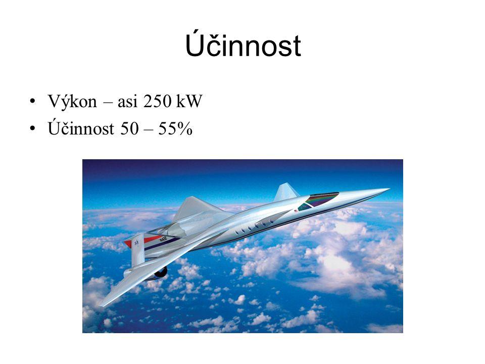 Účinnost Výkon – asi 250 kW Účinnost 50 – 55%