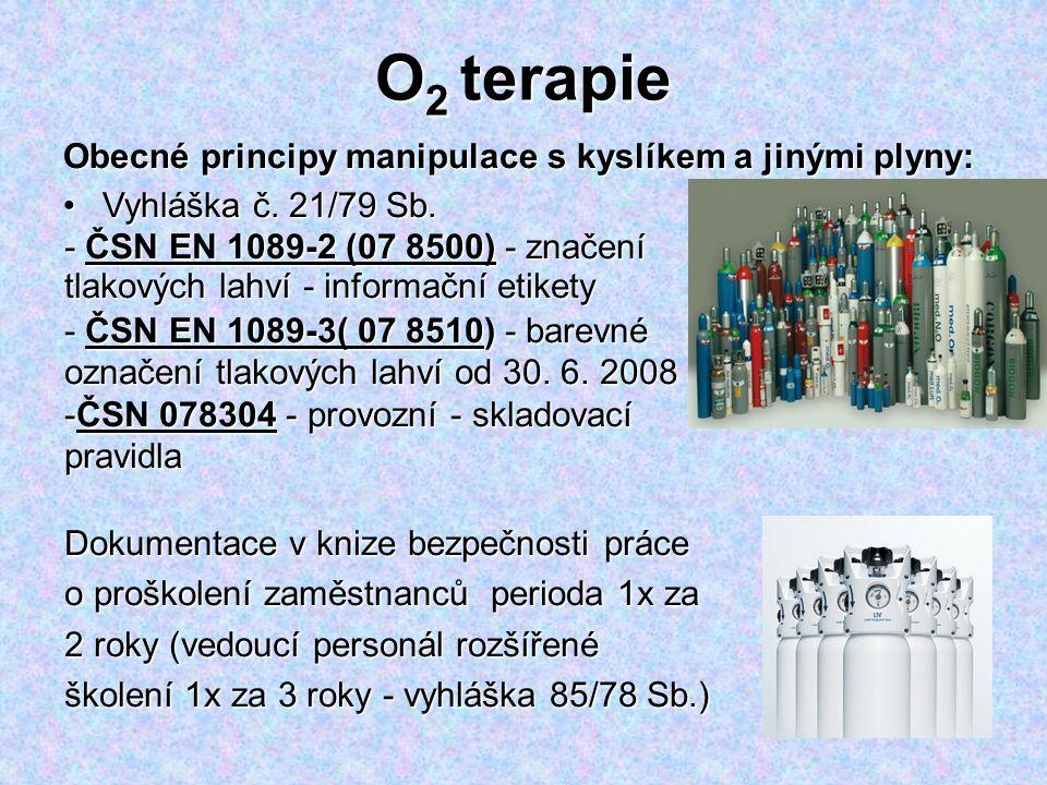 O2 terapie Obecné principy manipulace s kyslíkem a jinými plyny: