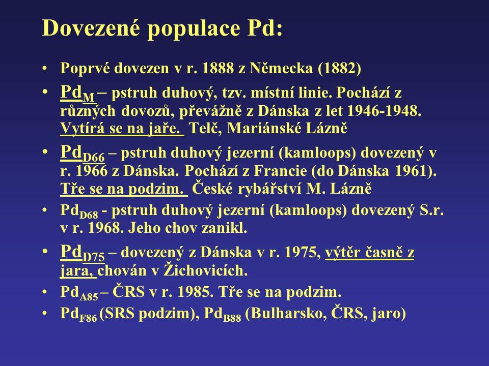 Dovezené populace Pd: Poprvé dovezen v r. 1888 z Německa (1882)