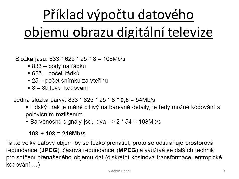 Příklad výpočtu datového objemu obrazu digitální televize