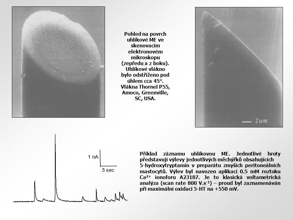 Pohled na povrch uhlíkové ME ve skenovacím elektronovém mikroskopu (zepředu a z boku). Uhlíkové vlákno bylo odstřiženo pod úhlem cca 45°. Vlákna Thornel P55, Amoco, Greenville, SC, USA.