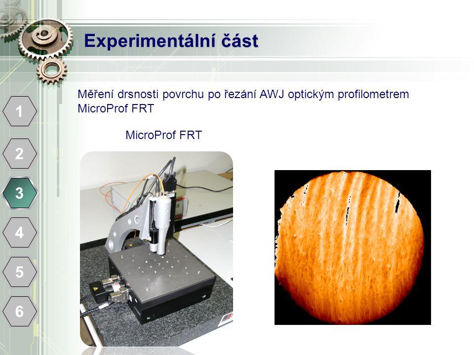 Experimentální část Měření drsnosti povrchu po řezání AWJ optickým profilometrem MicroProf FRT. 1.