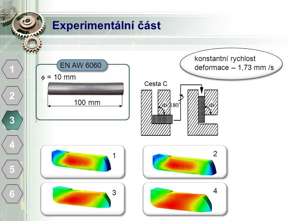 Experimentální část konstantní rychlost deformace – 1,73 mm /s. EN AW 6060. 1.  = 10 mm.