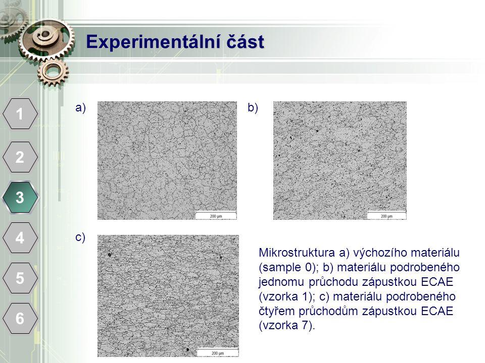 Experimentální část 1 2 3 4 5 6 a) b) c)