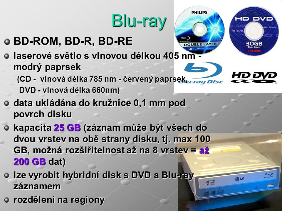 Blu-ray BD-ROM, BD-R, BD-RE