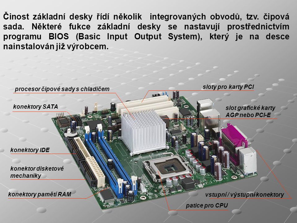 Činost základní desky řídí několik integrovaných obvodů, tzv