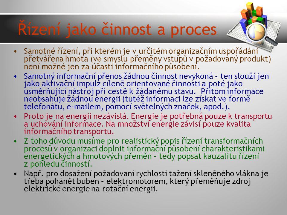 Řízení jako činnost a proces
