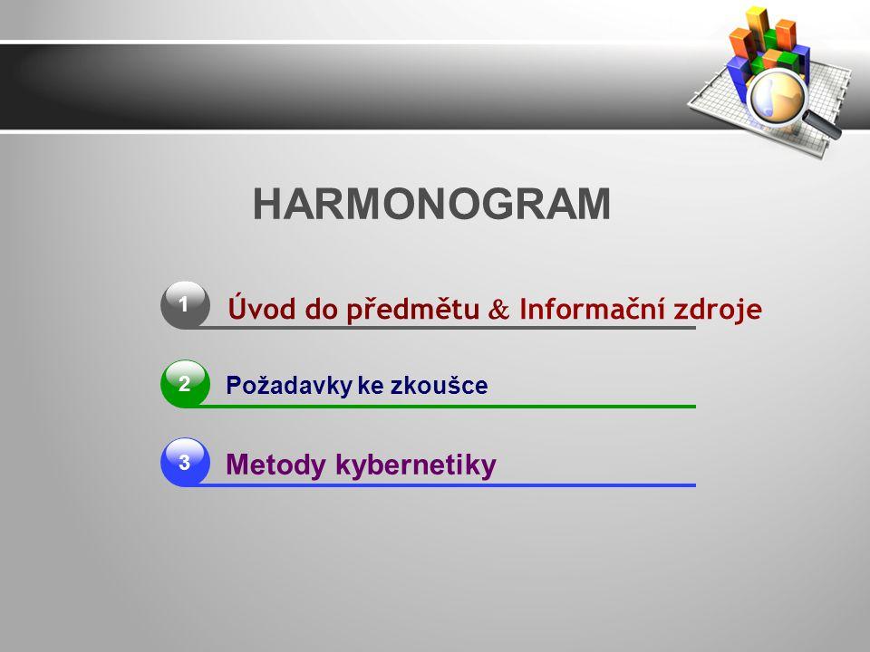 HARMONOGRAM Úvod do předmětu  Informační zdroje Metody kybernetiky