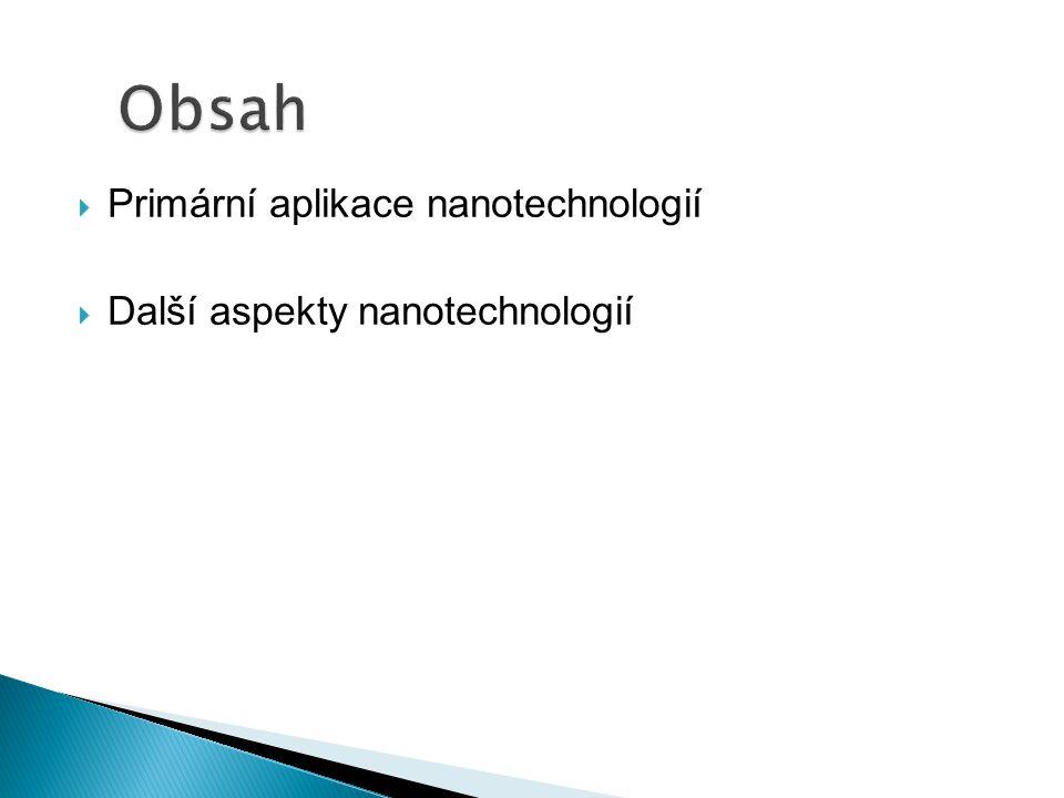 Obsah Primární aplikace nanotechnologií Další aspekty nanotechnologií