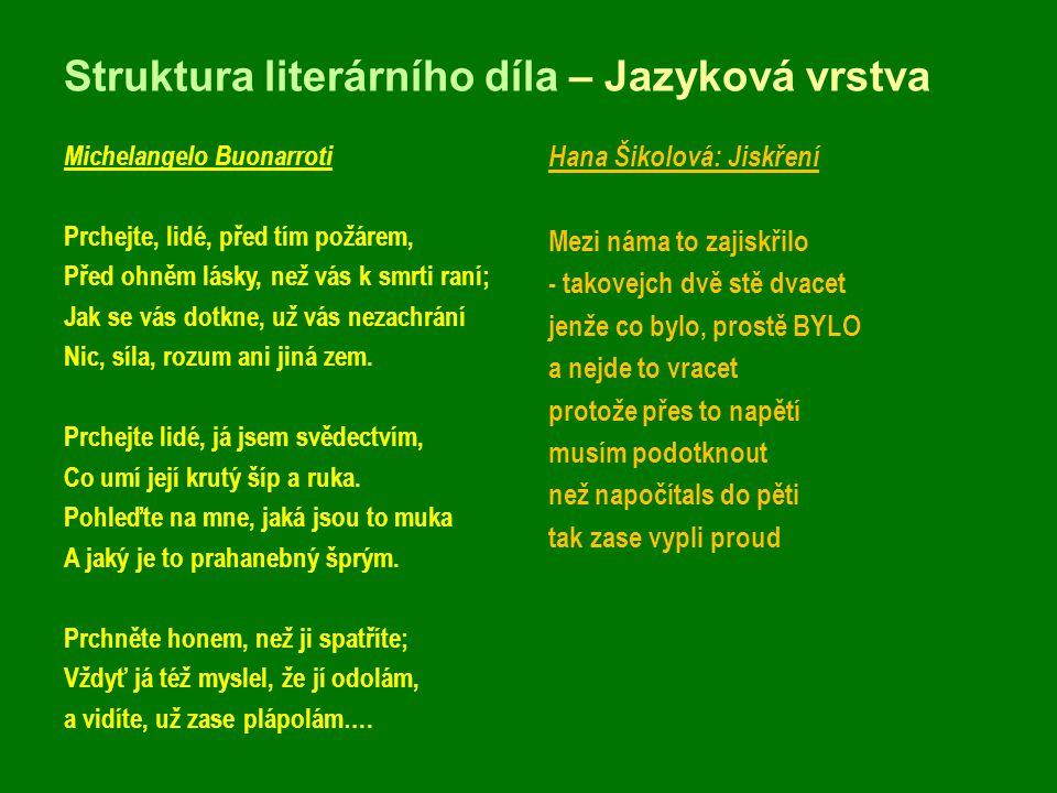 Struktura literárního díla – Jazyková vrstva