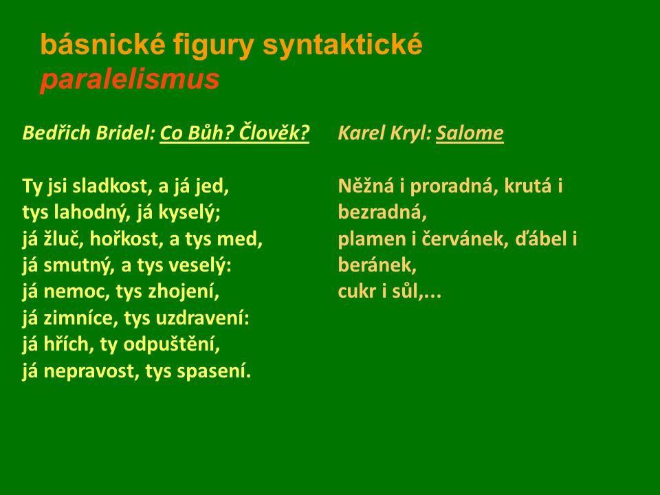 básnické figury syntaktické paralelismus
