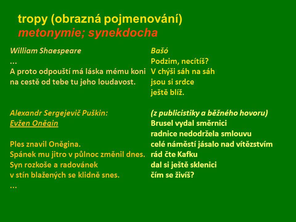 tropy (obrazná pojmenování) metonymie; synekdocha