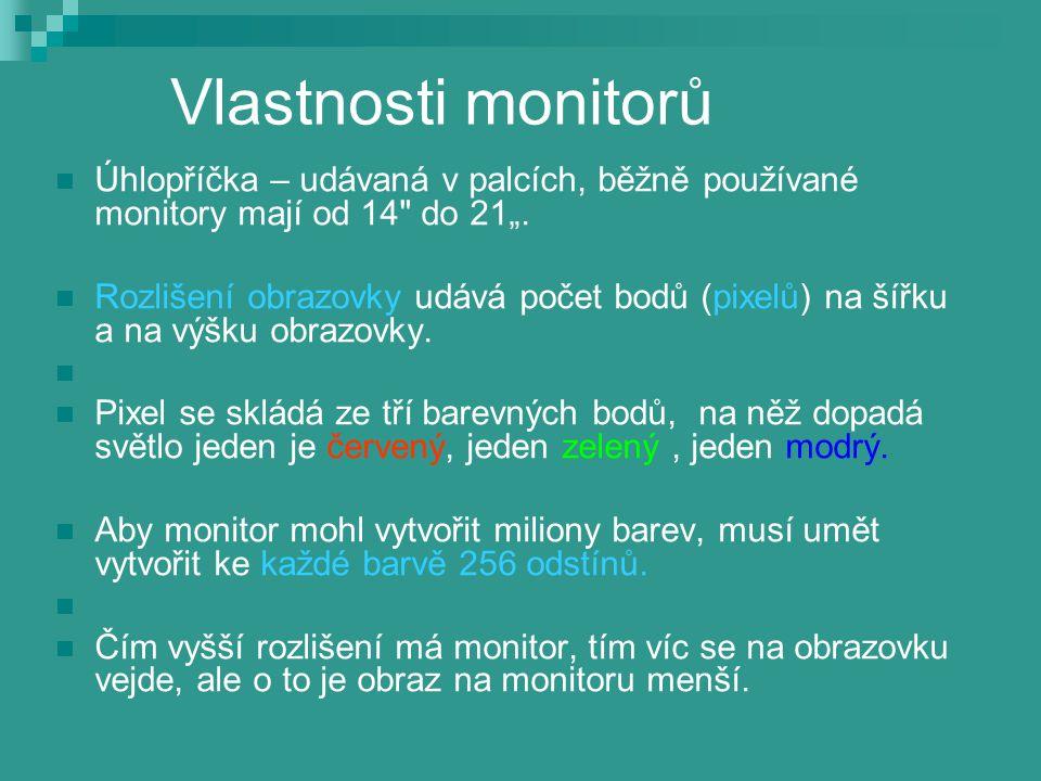 """Vlastnosti monitorů Úhlopříčka – udávaná v palcích, běžně používané monitory mají od 14 do 21""""."""