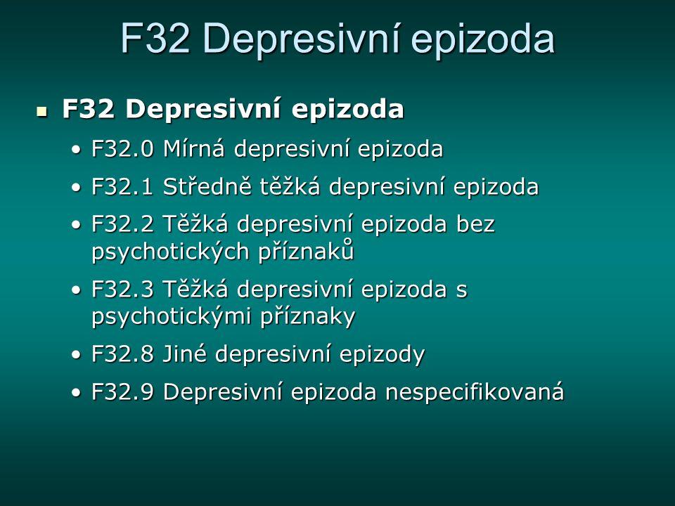F32 Depresivní epizoda F32 Depresivní epizoda
