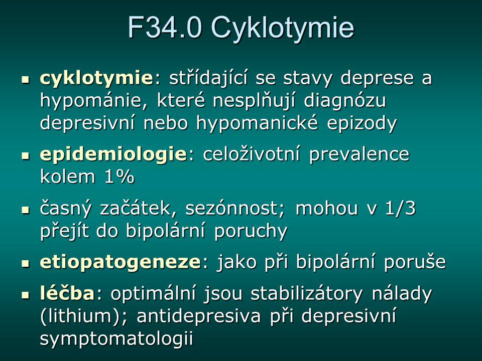 F34.0 Cyklotymie cyklotymie: střídající se stavy deprese a hypománie, které nesplňují diagnózu depresivní nebo hypomanické epizody.