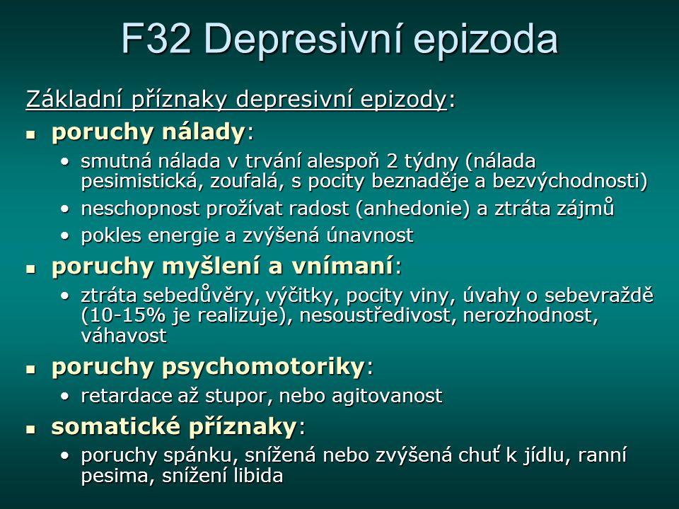 F32 Depresivní epizoda Základní příznaky depresivní epizody:
