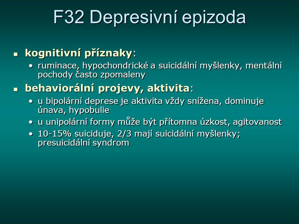 F32 Depresivní epizoda kognitivní příznaky: