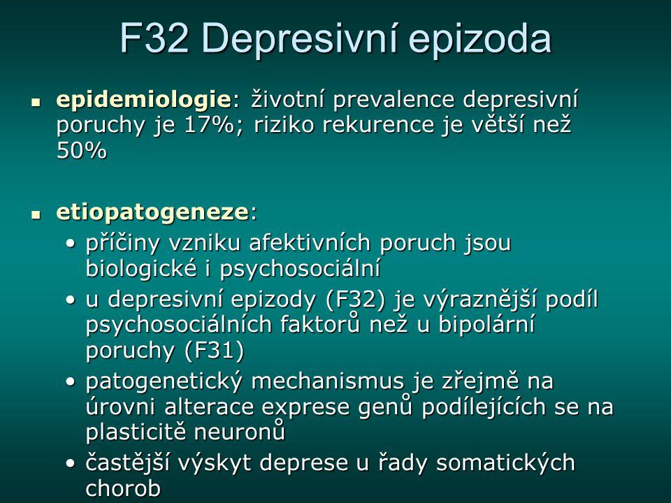 F32 Depresivní epizoda epidemiologie: životní prevalence depresivní poruchy je 17%; riziko rekurence je větší než 50%