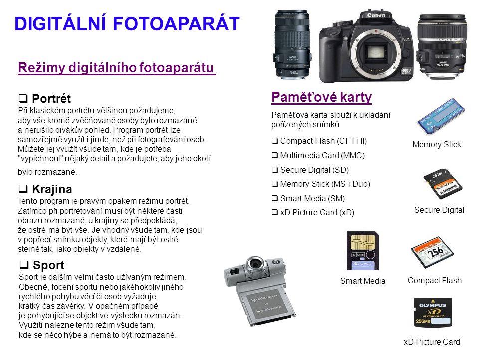 DIGITÁLNÍ FOTOAPARÁT Režimy digitálního fotoaparátu Paměťové karty