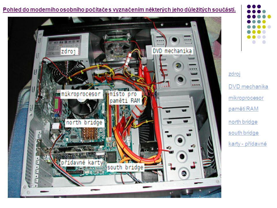 Pohled do moderního osobního počítače s vyznačením některých jeho důležitých součástí.