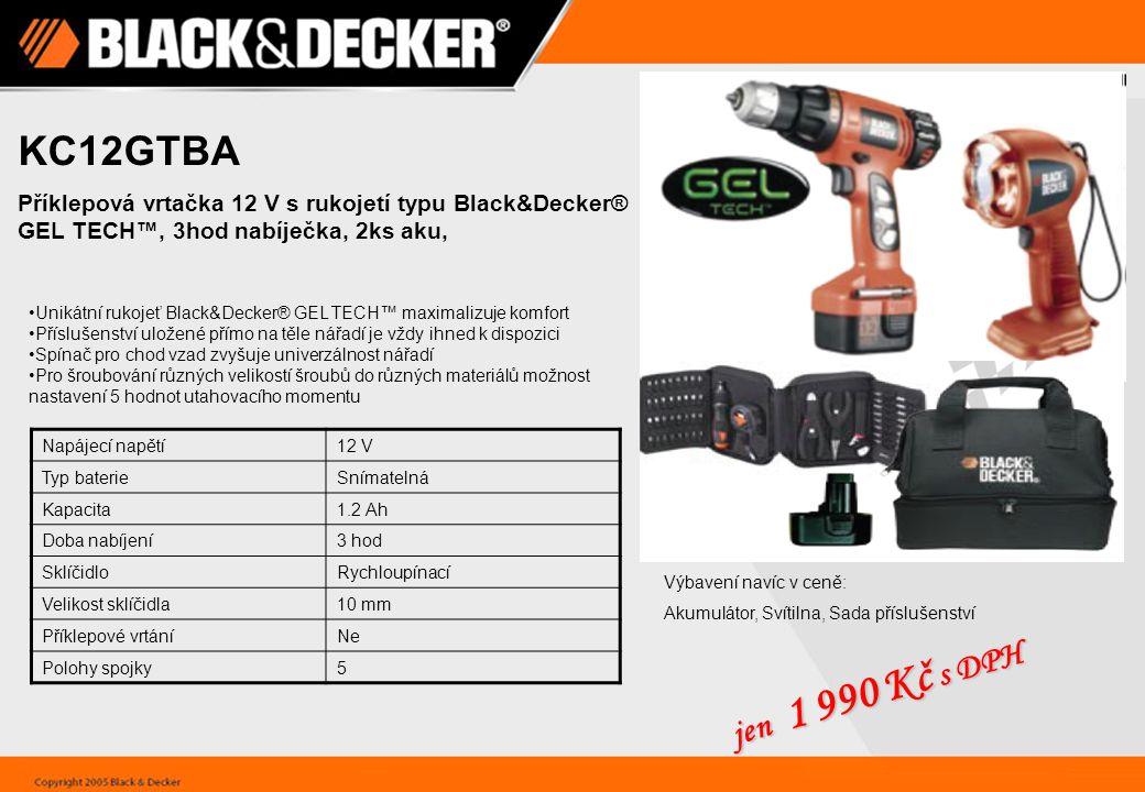 KC12GTBA Příklepová vrtačka 12 V s rukojetí typu Black&Decker® GEL TECH™, 3hod nabíječka, 2ks aku,