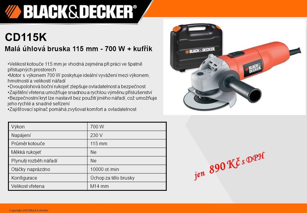 CD115K jen 890 Kč s DPH Malá úhlová bruska 115 mm - 700 W + kufřík