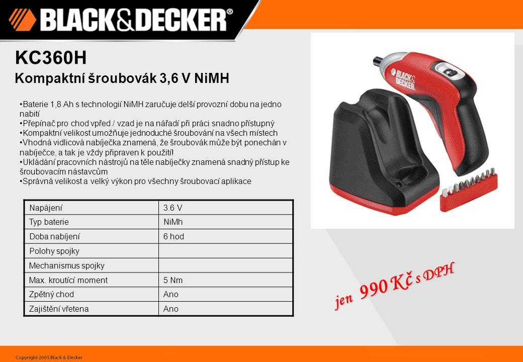 KC360H jen 990 Kč s DPH Kompaktní šroubovák 3,6 V NiMH