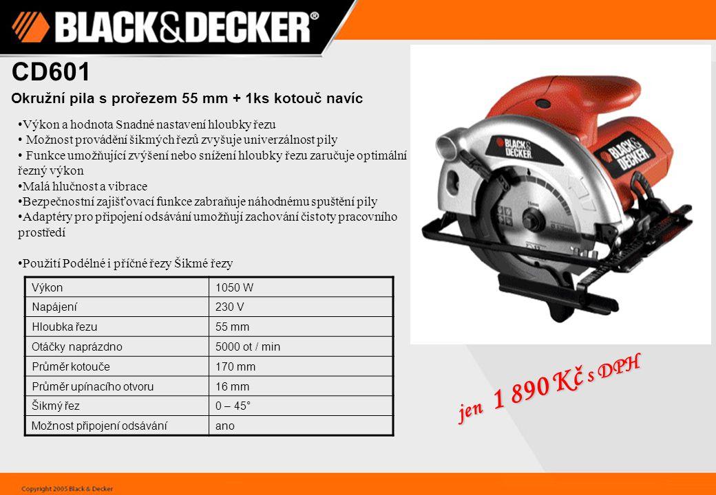 CD601 Okružní pila s prořezem 55 mm + 1ks kotouč navíc. Výkon a hodnota Snadné nastavení hloubky řezu.