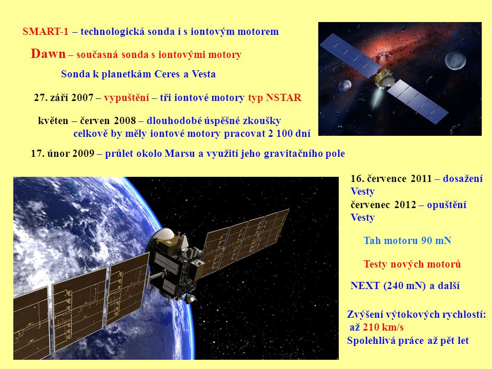 Dawn – současná sonda s iontovými motory
