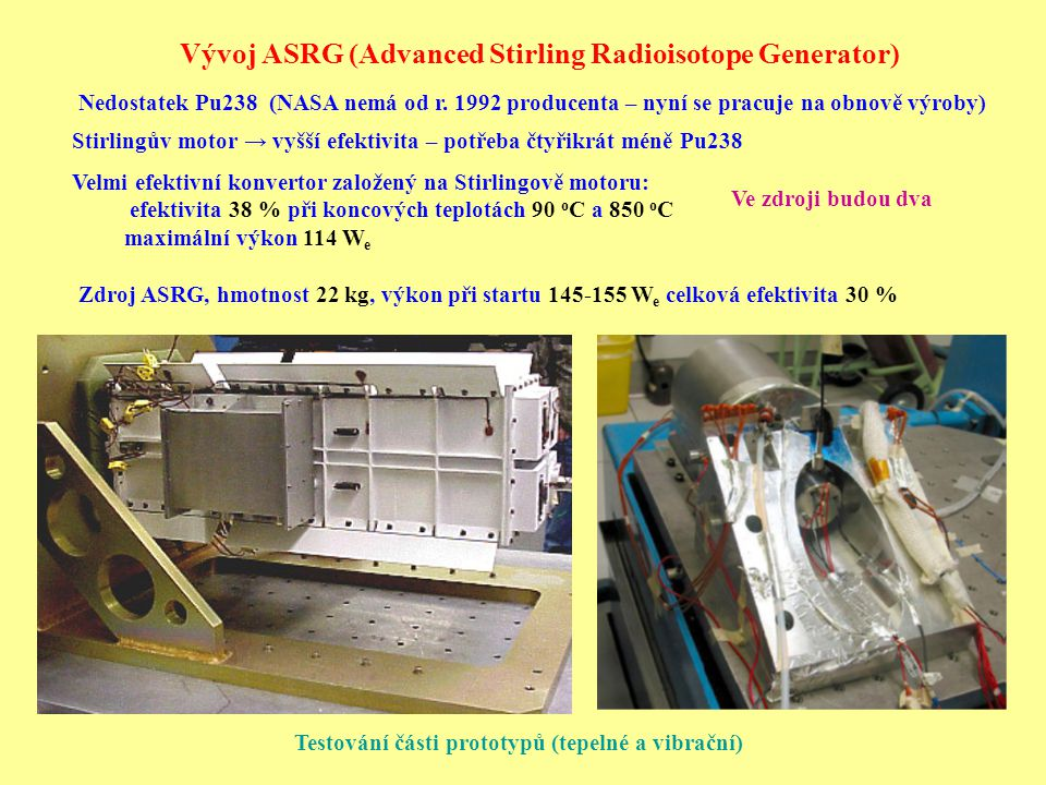 Vývoj ASRG (Advanced Stirling Radioisotope Generator)