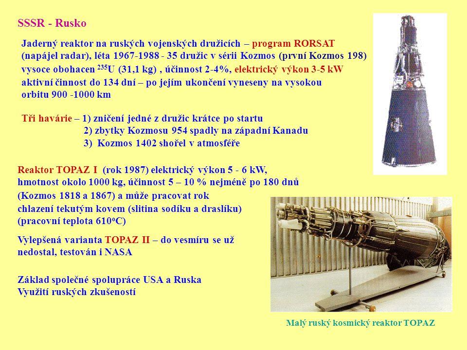 SSSR - Rusko Jaderný reaktor na ruských vojenských družicích – program RORSAT.