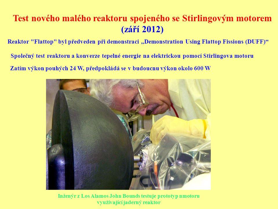 Test nového malého reaktoru spojeného se Stirlingovým motorem