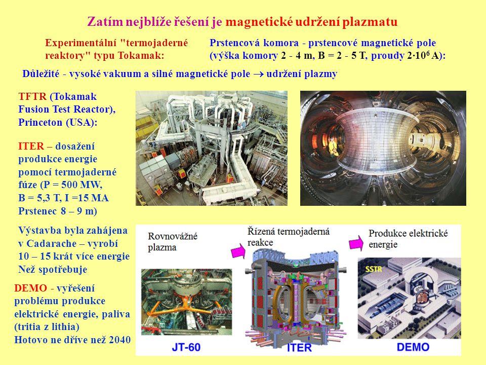 Zatím nejblíže řešení je magnetické udržení plazmatu