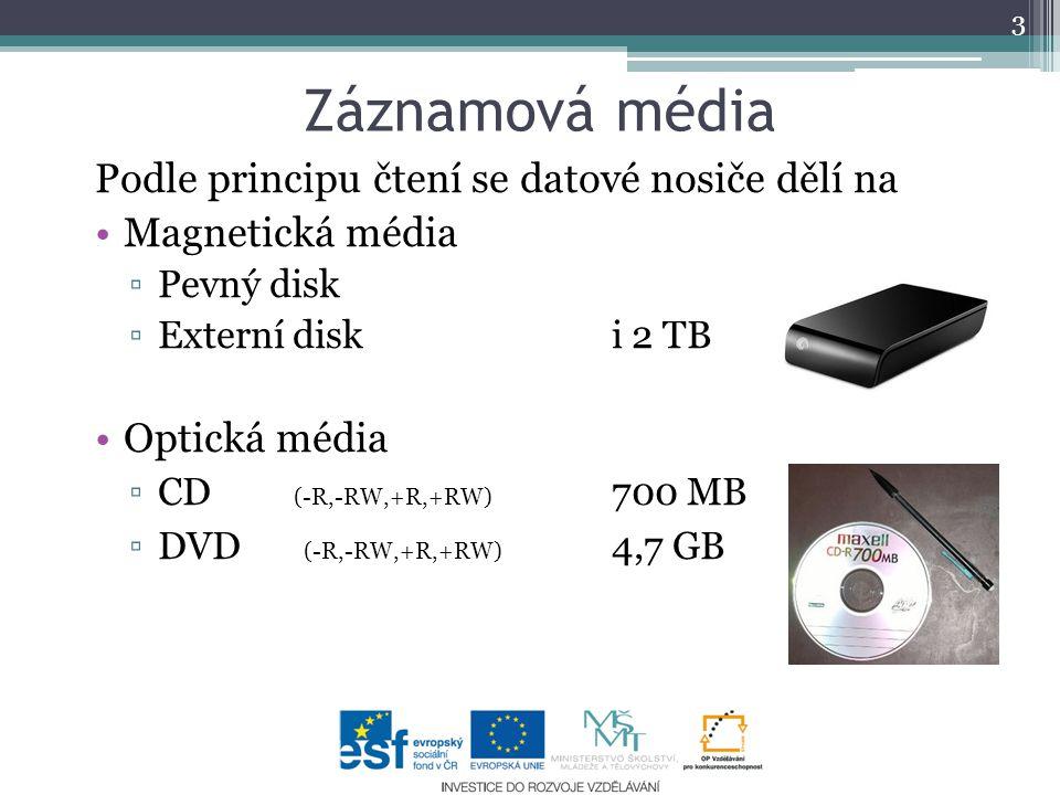 Záznamová média Podle principu čtení se datové nosiče dělí na